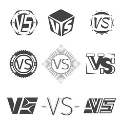Versus letters logos competition icons set vector