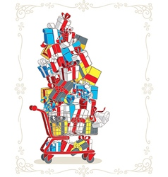 Shopping cart stacked with presents cartoon vector