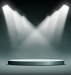 Round podium illuminated spotlights vector