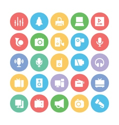 Multimedia colored icons 4 vector
