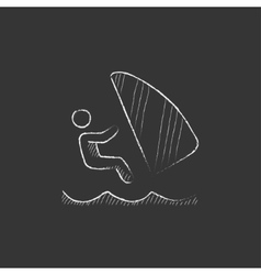Wind surfing drawn in chalk icon vector