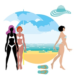Tanned girl in a swimsuit on the beach vector