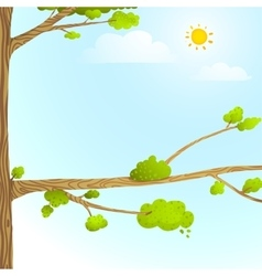 Colorful Nature Cartoon Background with Trees Sun vector image