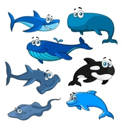 Funny cartoon sea animals characters vector