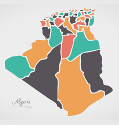 Algeria map with states and modern round shapes vector