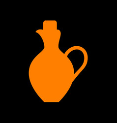 amphora sign orange icon on black vector image