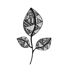Bohemian or boho style leaf icon image vector