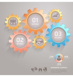 Business gears infographics numbers template vector image vector image