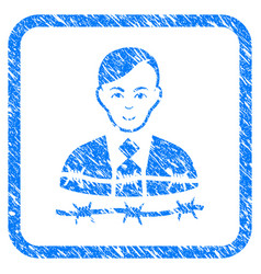 Businessman arrest framed stamp vector