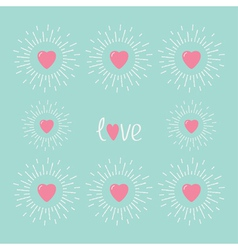 Card with pink shining hearts and word love Flat vector image vector image