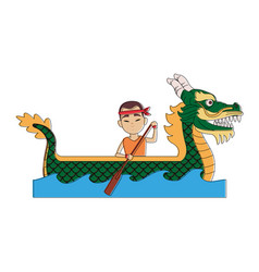 Chinese people on dragon boat vector