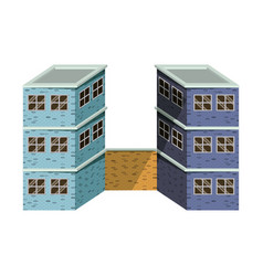 Colorful image realistic two buildings with brick vector
