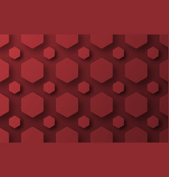 design a background with flying red hexagons of vector image vector image