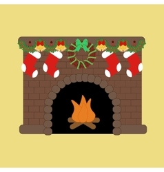 Fire place with christmas decoration vector