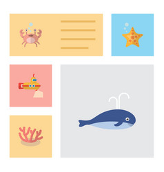 Flat icon sea set of cancer sea star algae and vector