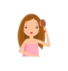 Girl brushing her hair vector