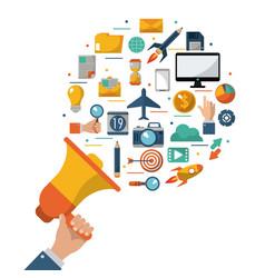 Hand holding megaphone advert commercial marketing vector