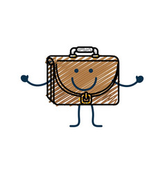 Happy briefcase icon vector