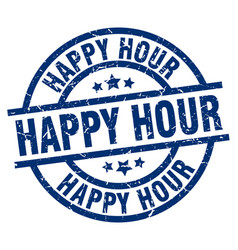 Happy hour blue round grunge stamp vector