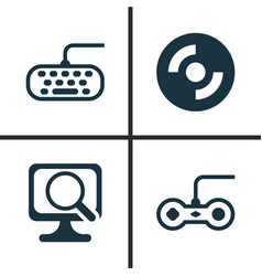 Hardware icons set collection of laptop computer vector