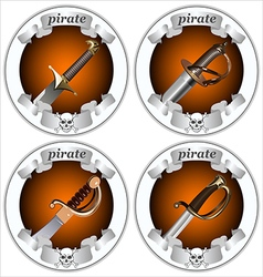 icons pirate swords vector image vector image