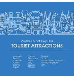 Line worlds most popular tourist locations vector