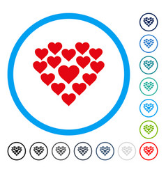 love hearts shape rounded icon vector image vector image