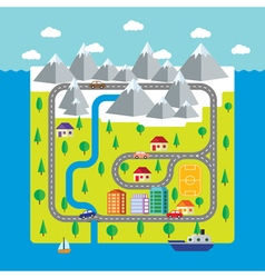 Map of small town and countryside vector image vector image