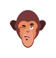 monkey winking emoji marmoset merry emotion vector image