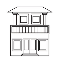 Monochrome silhouette of house with two floors and vector