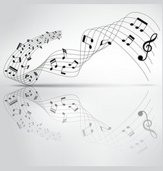 Musical chord flowing and reflection on background vector