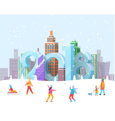new year 2018 coming to city vector image vector image