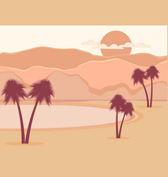 oasis with palm trees desert vector image