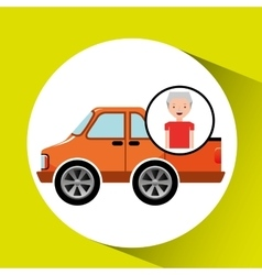 Old man pickup truck icon vector