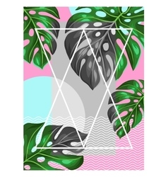 Poster with monstera leaves decorative image of vector