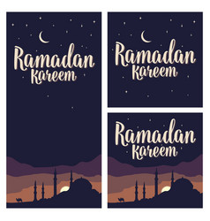 ramadan kareem lettering with minarets crescent vector image vector image
