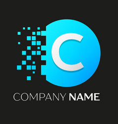 Realistic letter c logo in colorful circle vector
