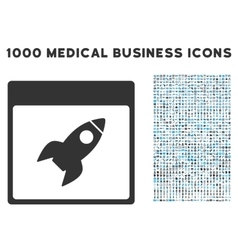 Rocket calendar page icon with 1000 medical vector