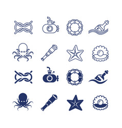 sea ocean nautical thin line and silhouette icons vector image