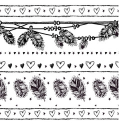 Seamless border with feathers and crystals vector