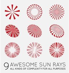 Set of sunburst rays of sun vector