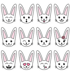 set of white cute rabbits isolated on white vector image vector image