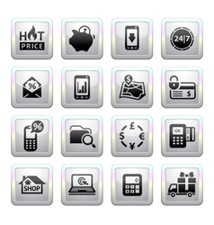Shopping icons gray web 20 icons vector