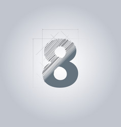 Sign number eight logotype architectural design vector