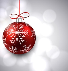 Silver background with christmas ball vector image