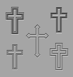 stone carved christian crosses vector image