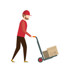 storage worker pushing trolley with boxes vector image vector image
