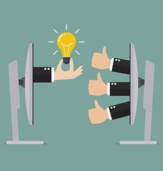 Thumb up for great idea online vector image vector image
