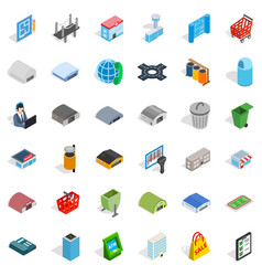 Town icons set isometric style vector