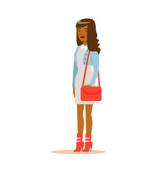 Young african american woman in fashionable vector
